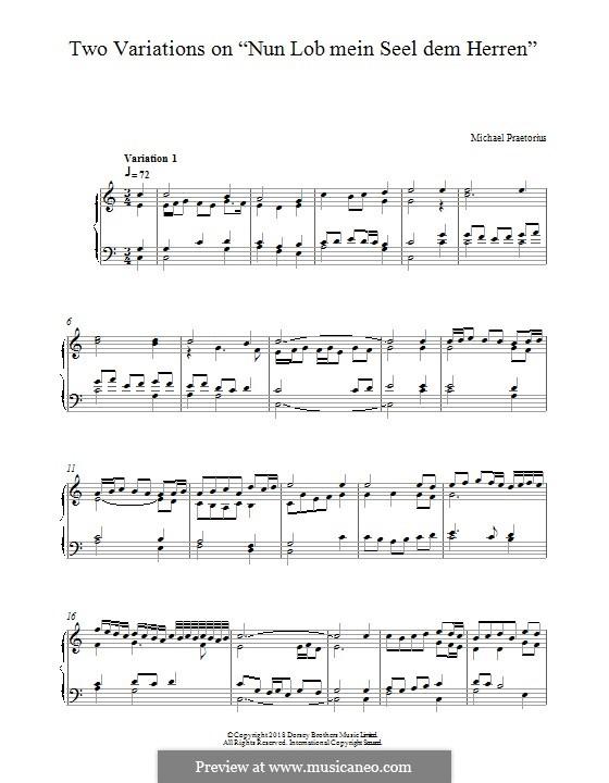 Two Variations on 'Nun Lob Mein Seel Dem Herren': Para Piano by Michael Praetorius