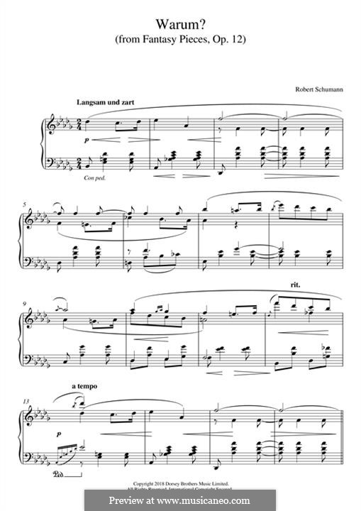 Fantastic Pieces, Op.12: No.3 Warum (Why) by Robert Schumann