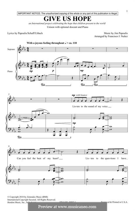 Give Us Hope: para coro misto by Jim Papoulis