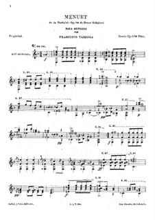 Sonata for Piano No.18 in G Major, D.894 Op.78: Movement III. Minuet, for guitar by Franz Schubert