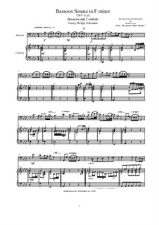 Bassoon Sonata in F minor for Bassoon and Cembalo (or Piano), TWV 41 f1: Bassoon Sonata in F minor for Bassoon and Cembalo (or Piano) by Georg Philipp Telemann