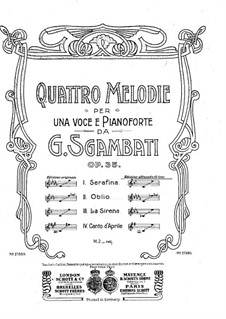 Four Melodies, Op.35: Four Melodies by Giovanni Sgambati