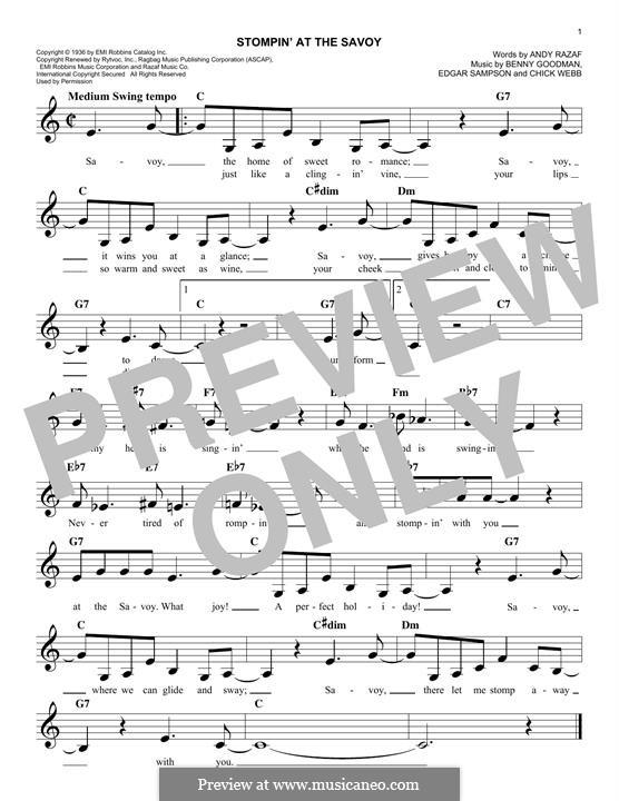 Stompin at the Savoy: melodia by Benny Goodman, Chick Webb, Edgar Sampson