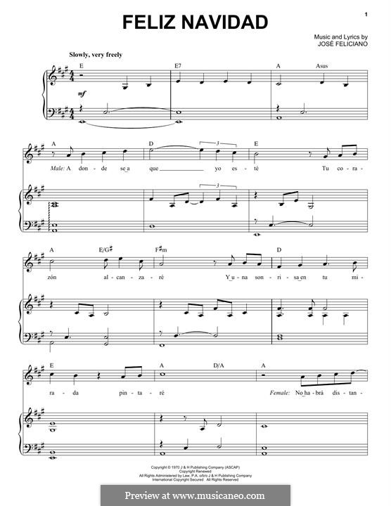 Feliz Navidad: Para vocais e piano by José Feliciano