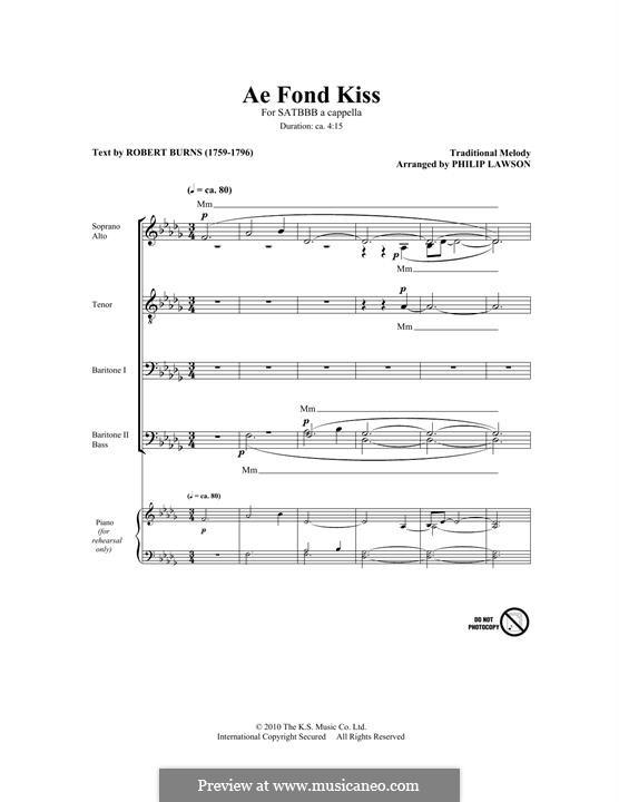 Ae Fond Kiss: para coro misto by folklore