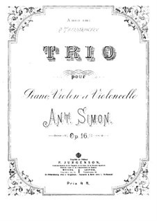 Piano Trio in D Minor, Op.16: Partitura completa by Anton Simon