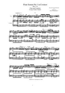 Sonata for Flute and Harpsichord in E Minor, HWV 359b Op.1 No.1b: partitura, parte solo by Georg Friedrich Händel