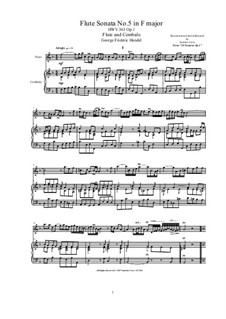 Sonata for Flute and Harpsichord in G Major, HWV 363b Op.1 No.5: partitura, parte solo by Georg Friedrich Händel