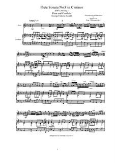 Sonata for Oboe, Continuo and Harpsichord or Piano No.8 in C Minor, HWV 366 Op.1: partitura, parte solo by Georg Friedrich Händel