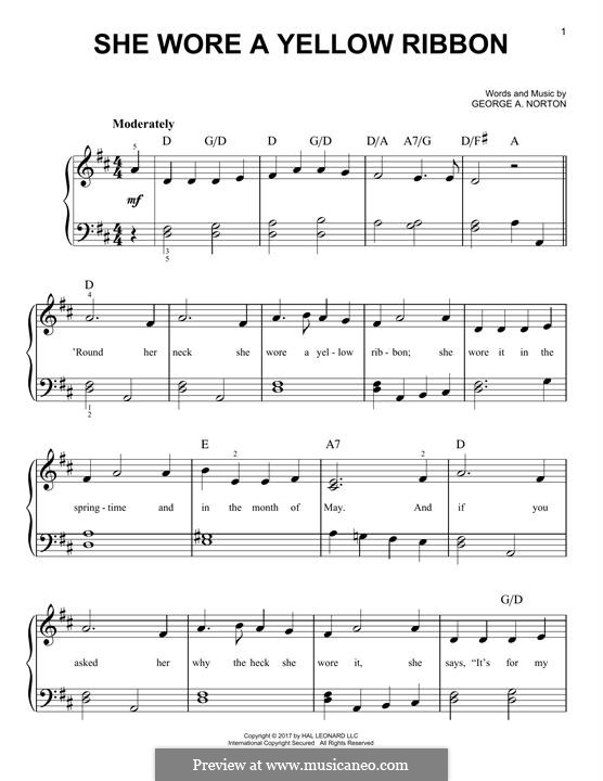 She Wore a Yellow Ribbon: Para Piano by George A. Norton