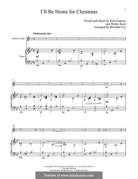 I'll Be Home for Christmas: para clarinete e piano by Kim Gannon, Walter Kent