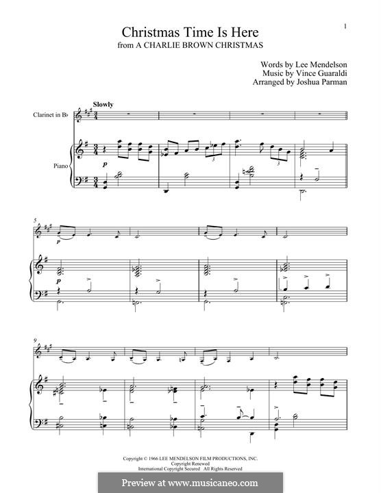 Christmas Time is Here: para clarinete e piano by Vince Guaraldi