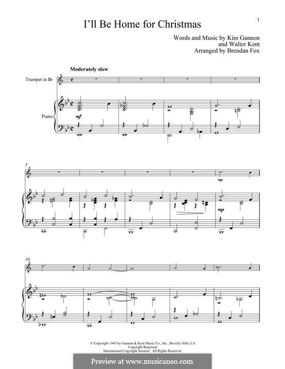 I'll Be Home for Christmas: para trompeta e piano by Kim Gannon, Walter Kent