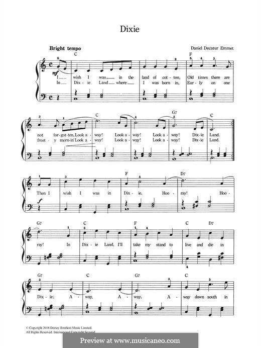 Dixie: Para vocais e piano by Daniel Decatur Emmett