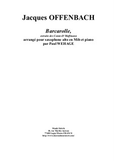 Barcarole: Version for Eb alto saxophone and piano by Jacques Offenbach