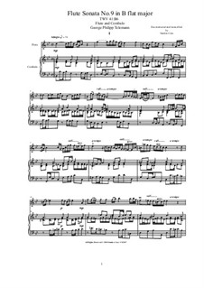 Sonata for Flute and Cembalo (or Piano) No.9 in B flat, TWV 41:b6: Sonata for Flute and Cembalo (or Piano) No.9 in B flat by Georg Philipp Telemann