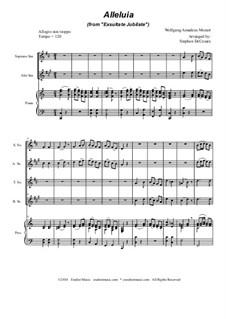 Exsultate, jubilate, K.165: Alleluia, for saxophone quartet by Wolfgang Amadeus Mozart