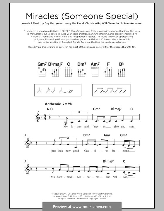 Miracles (Someone Special): para ukulele by Chris Martin, Guy Berryman, Jonny Buckland, Will Champion