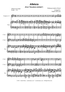 Exsultate, jubilate, K.165: Alleluia, duet for C-trumpet by Wolfgang Amadeus Mozart