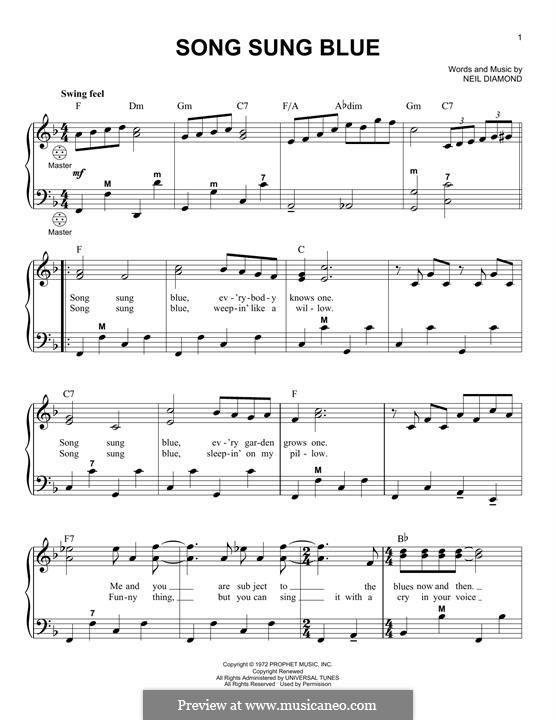 Song Sung Blue: para acordeão by Neil Diamond