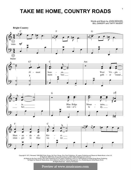 Take Me Home, Country Roads: para acordeão by Bill Danoff, John Denver, Taffy Nivert