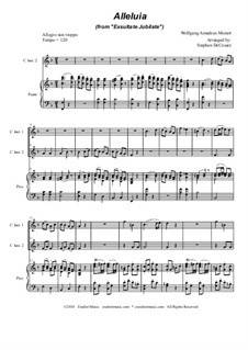 Exsultate, jubilate, K.165: Alleluia, duet for C-instruments by Wolfgang Amadeus Mozart