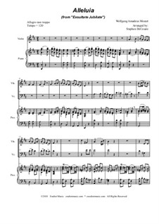 Exsultate, jubilate, K.165: Alleluia, duet for violin and cello by Wolfgang Amadeus Mozart