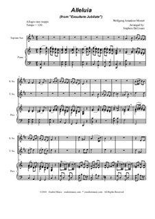 Exsultate, jubilate, K.165: Alleluia, duet for soprano and tenor saxophone by Wolfgang Amadeus Mozart