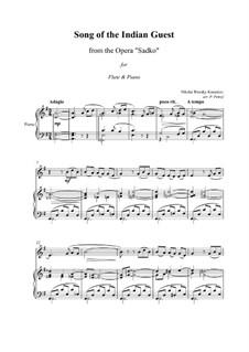 Sadko. Opera: Song of Indian Guest, for flute and piano by Nikolai Rimsky-Korsakov