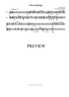 Two Elegiac Melodies, Op.34: No.2 Våren (Spring), for violin and guitar by Edvard Grieg