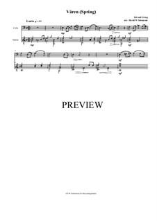 Two Elegiac Melodies, Op.34: No.2 Våren (Spring), for cello and guitar by Edvard Grieg