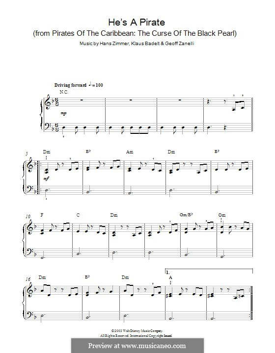 He's a Pirate (from Pirates of the Caribbean: The Curse of the Black Pearl): Para Piano by Klaus Badelt