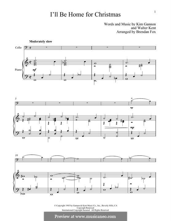 I'll Be Home for Christmas: para Violoncelo e piano by Kim Gannon, Walter Kent