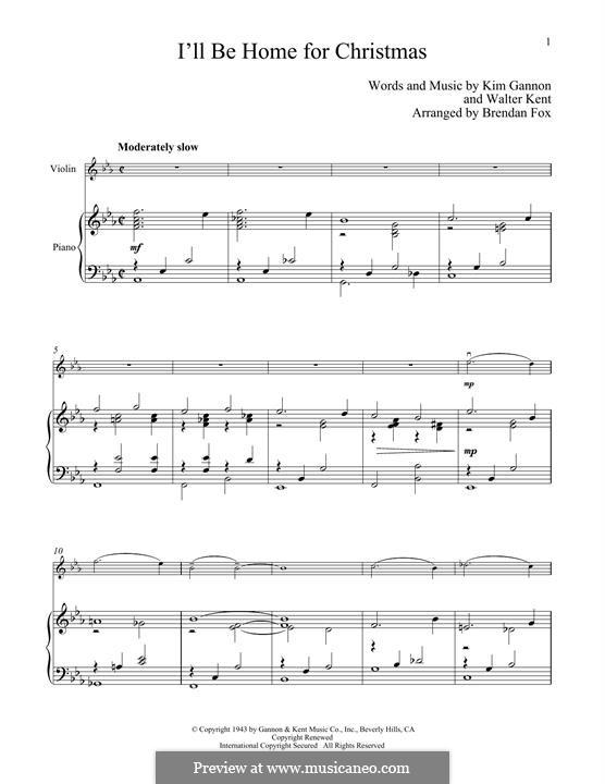 I'll Be Home for Christmas: para violino by Kim Gannon, Walter Kent
