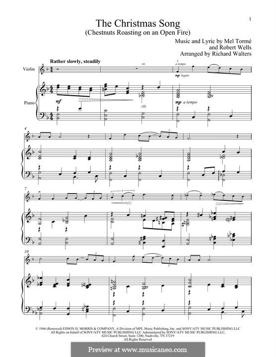The Christmas Song (Chestnuts Roasting on an Open Fire): para violino by Mel Tormé, Robert Wells