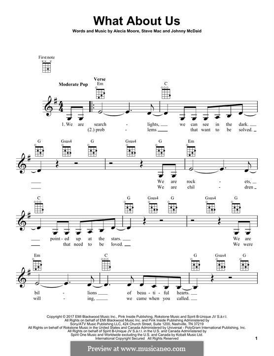 What About Us (Pink): para ukulele by Alecia Moore, Steve Mac, John McDaid