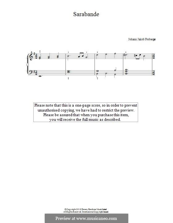 Sarabande: Para Piano by Johann Jacob Froberger