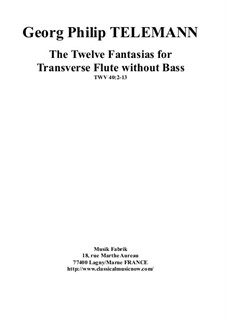 Twelve Fantasias for Solo Flute, TWV 40:2-13: For a single performer, edited by Paul Wehage by Georg Philipp Telemann