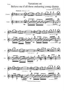 Believe Me, if All Those Endearing Young Charms: Variations, for clarinet and guitar by Thomas Moore
