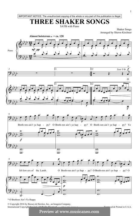 Three Shaker Songs: para coro misto by folklore