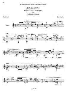 Marieta. Mazurka: Para Guitarra by Francisco Tárrega