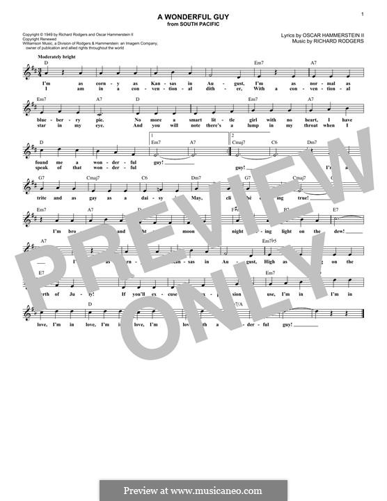A Wonderful Guy (from South Pacific): Melody line by Richard Rodgers