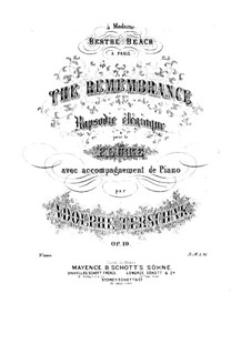 The Remembrance, Op.10: Score by Adolf Terschak