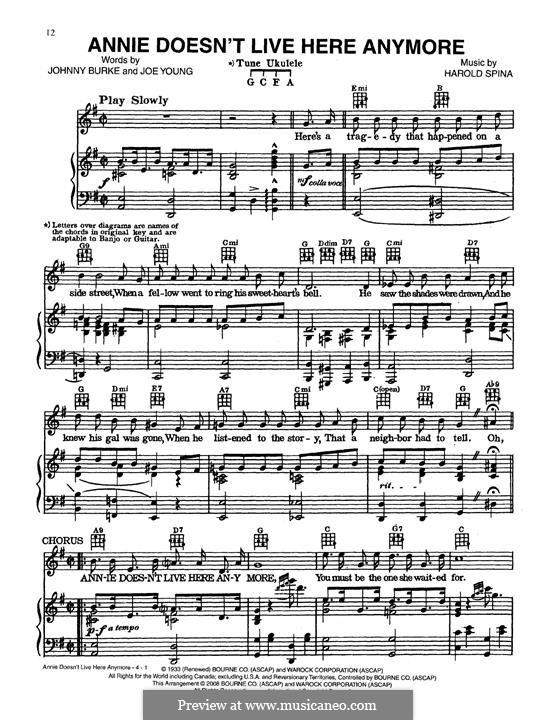 Annie Doesn't Live Here Anymore: Para vocais e piano (ou Guitarra) by Harold Spina