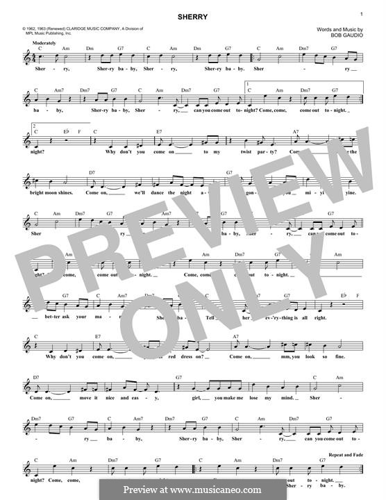 Sherry (The Four Seasons): melodia by Bob Gaudio