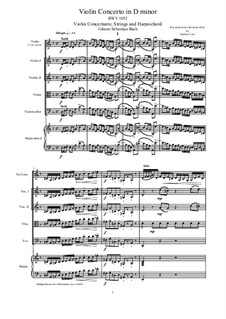 Concerto for Harpsichord and Strings No.1 in D Minor , BWV 1052: Score, parts by Johann Sebastian Bach