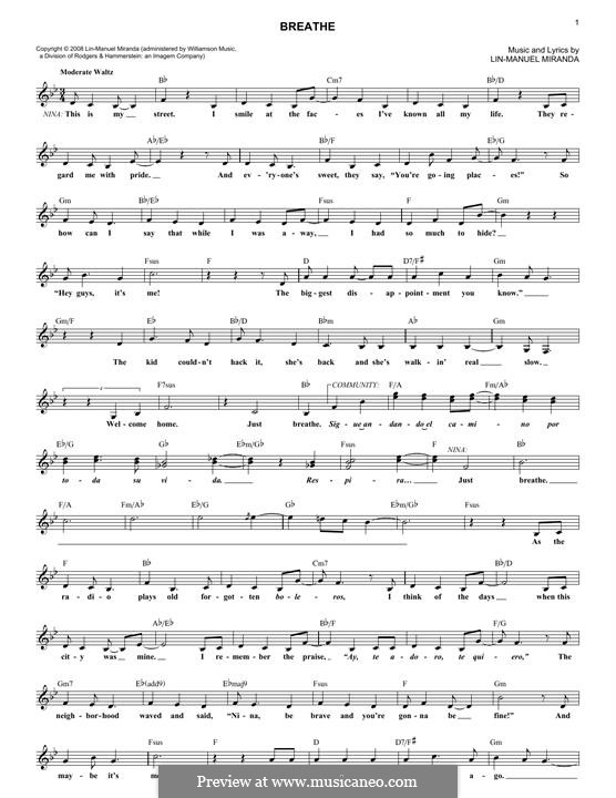 Breathe: melodia by Lin-Manuel Miranda