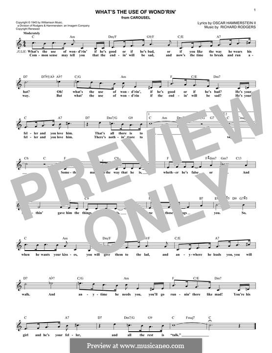 What's the Use of Wond'rin': melodia by Richard Rodgers