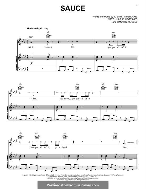 Sauce: Para vocais e piano (ou Guitarra) by Justin Timberlake, Floyd Nathaniel Hills, Timbaland, Elliott Ives