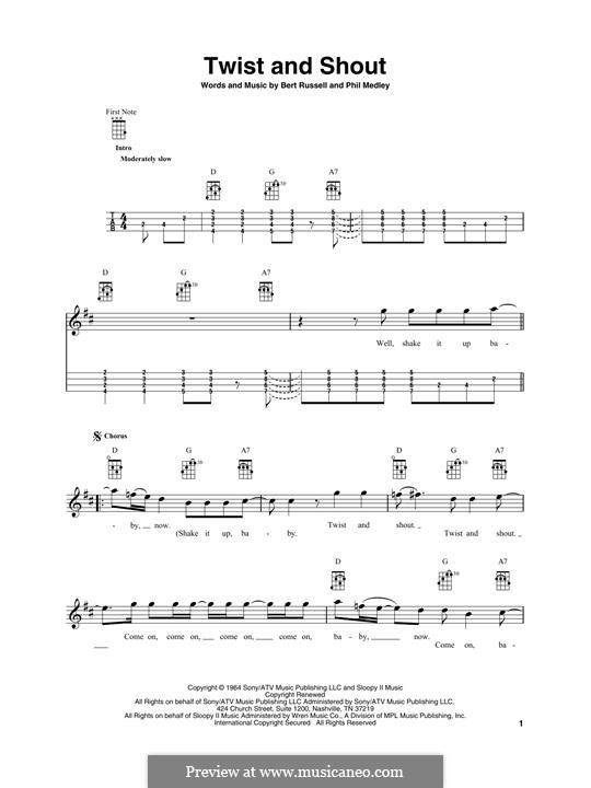 Twist and Shout (The Beatles): para ukulele by Bert Russell, Phil Medley